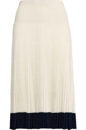 Ralph Lauren Collection Women Pleated Skirts - Stripe-detail pleated skirt - Neutrals