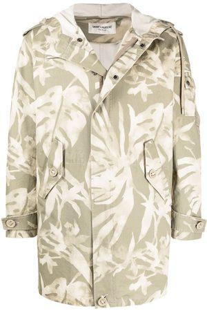 Saint Laurent Men Parkas - Leaf pattern hooded parka