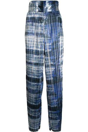 Semsem Metallic plissé wide-leg trousers