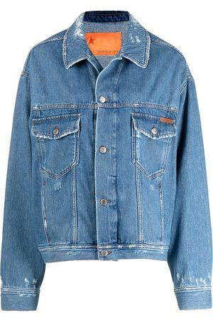 Golden Goose Women Denim Jackets - Slogan print distressed denim jacket