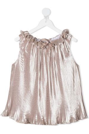 LA STUPENDERIA Luce metallic pleated blouse - Neutrals