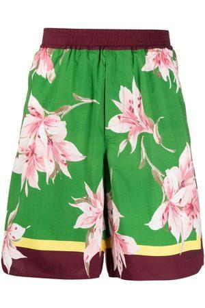 VALENTINO Men Bermudas - Floral print bermuda shorts