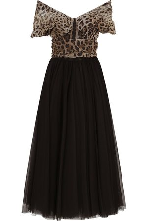 Dolce & Gabbana Leopard print-panel tulle gown