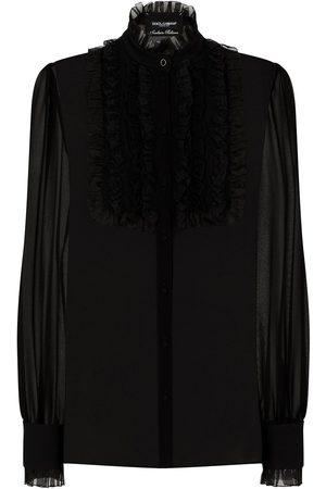 Dolce & Gabbana Ruffled-bib sheer shirt