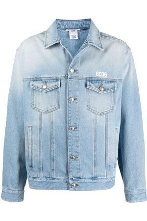 GCDS Men Denim Jackets - Embroidered-logo denim jacket