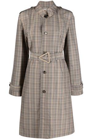 Bottega Veneta Women Trench Coats - Check single-breasted belted coat - Neutrals