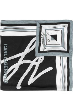Karl Lagerfeld Women Scarves - Karligraphy embroidered silk scarf