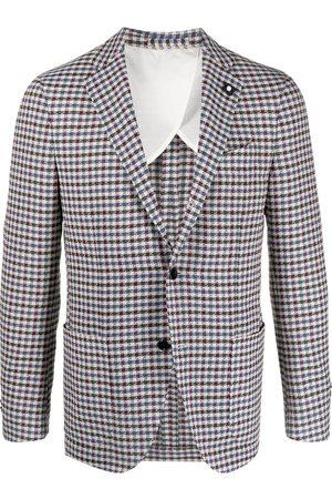 LARDINI Vichy check print blazer - Neutrals