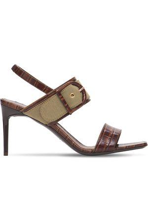 Max Mara 80mm Scilla Croc Embossed Leather Sandal