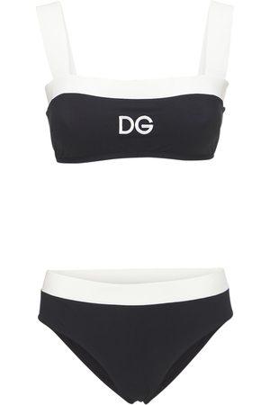 Dolce & Gabbana Women Swimsuits - Bicolor Jersey Bikini Swimsuit