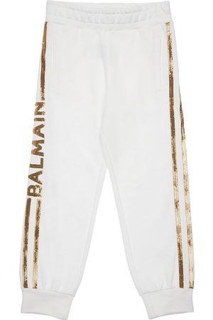 Balmain Girls Sweatpants - Sequined Cotton Sweatpants