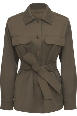 Max Mara Women Belts - Cotton Twill Jacket W/ Self -tie Belt