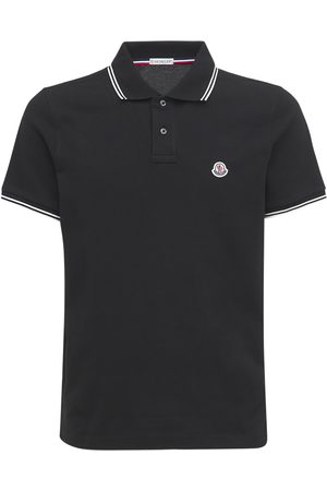 Moncler Men Polo Shirts - Logo Striped Cotton Piqué Polo Shirt