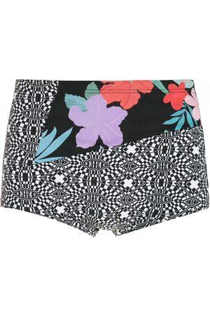 AMIR SLAMA Striped panels Hibiscus swimming trunks - Multicolour