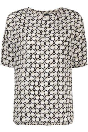 Aspesi Circle-print silk top - Neutrals