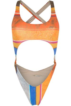 AMIR SLAMA Women Swimsuits - Striped print Eco high-leg swimsuit - Multicolour