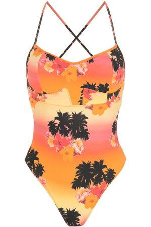 AMIR SLAMA Print Ilha de Hibiscus swimsuit