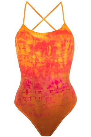AMIR SLAMA Embroidery Tie Dye swimsuit