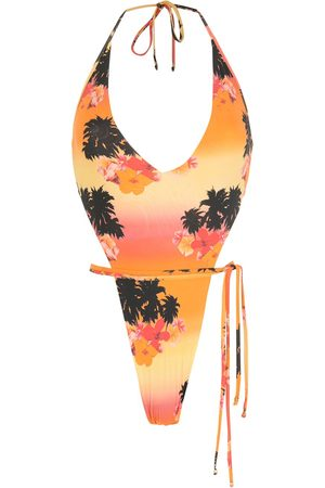 AMIR SLAMA Ilha de Hibiscus high-leg swimsuit - Multicolour