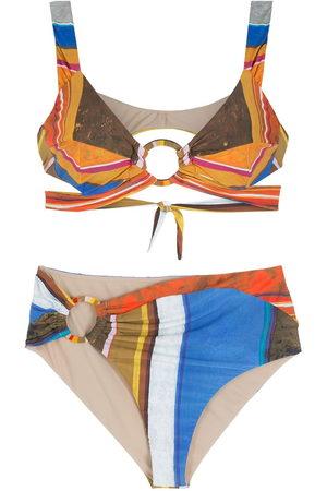 AMIR SLAMA Striped print Eco bikini set - Multicolour