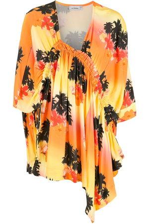 AMIR SLAMA Palm tree-print asymmetric dress