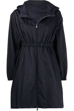 Moncler Women Trench Coats - Waist-strap hooded coat