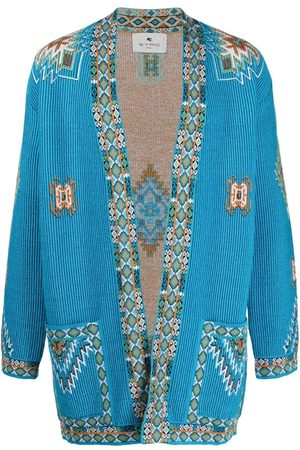Etro Men Cardigans - Embroidered ribbed-knit cardigan
