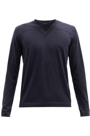 Falke V-neck Cashmere Sweater - Mens - Navy