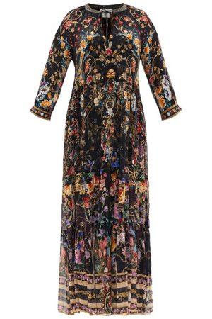 Camilla Blushing Manor Gathered-panel Silk Maxi Dress - Womens - Print
