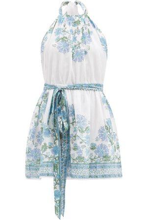 Juliet Dunn Rose-print Belted Halterneck Cotton Dress - Womens