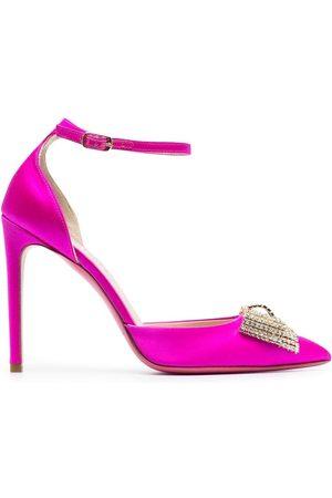 DEE OCLEPPO Satin bow-detail high-heel pumps