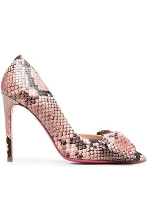 Dee Ocleppo Women Heels - Snakeskin-effect leather bow pumps
