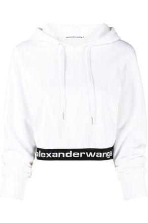 Alexander Wang Women Hoodies - Logo-waist cropped hoodie