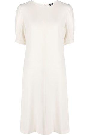 Aspesi Women Dresses - Button-embellished puff sleeve dress - Neutrals