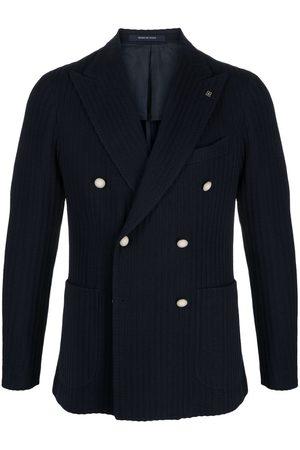 TAGLIATORE Men Blazers - Braided-knit double-breasted blazer