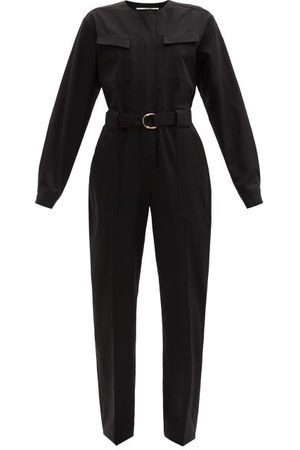 Another Tomorrow Women Jumpsuits - Belted Organic Cotton-blend Jumpsuit - Womens