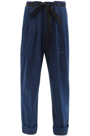 CHIMALA Women Straight - Paperbag-waist Cropped Jeans - Womens - Indigo