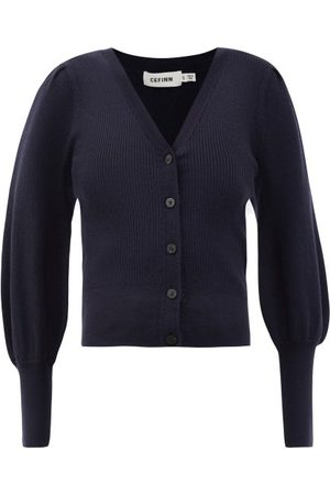 Cefinn Women Cardigans - The Eva Balloon-sleeve Merino-wool Blend Cardigan - Womens - Navy