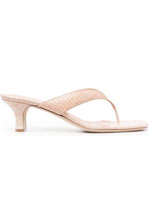 PARIS TEXAS Women Heeled Sandals - Crocodile-effect low-heel sandals - Neutrals