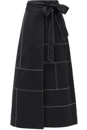 GABRIELA HEARST Women Midi Skirts - Alex Topstitched A-line Wrap Skirt - Womens