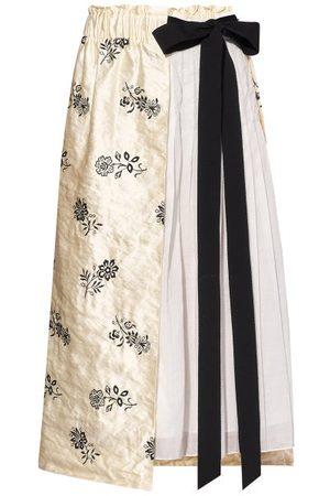 Erdem Elfrida Floral-embroidered Satin And Voile Skirt - Womens - Ivory Multi