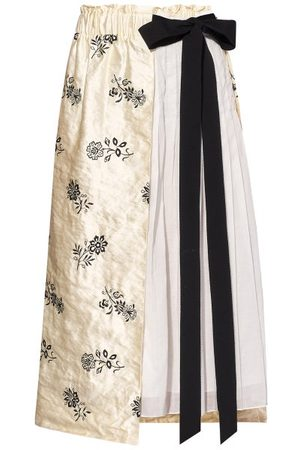 Erdem Women Midi Skirts - Elfrida Floral-embroidered Satin And Voile Skirt - Womens - Ivory Multi