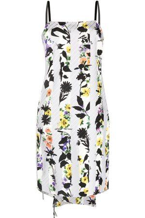 OFF-WHITE Women Printed Dresses - Floral-print tie detail dress - Grey