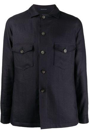 TAGLIATORE Men Shirts - Buttoned-up linen shirt jacket