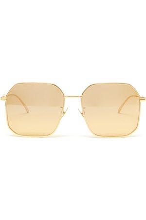 Bottega Veneta Angular Aviator Metal Sunglasses - Mens
