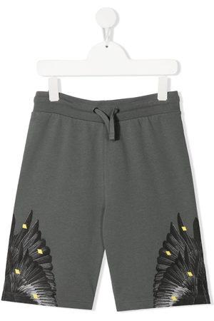 MARCELO BURLON Boys Tracksuits - Graphic-print jogger shorts - Grey