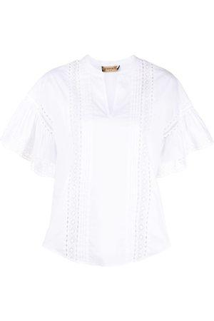 Twin-Set Broderie anglais flutter-sleeve blouse