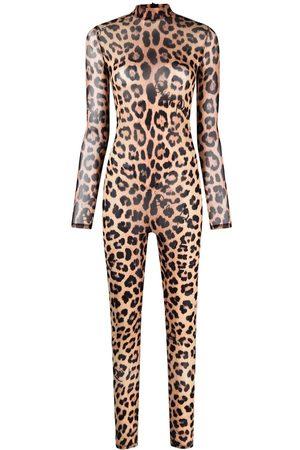 Philipp Plein Women Jumpsuits - Long-sleeved leopard-print jumpsuit - Neutrals