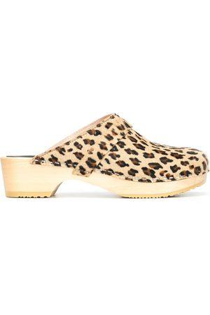 Swedish Hasbeens Women Clogs - Swedish Husband leopard-print clogs