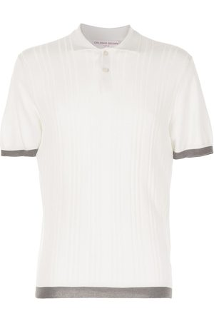 Orlebar Brown Ribbed-knit contrast-trim polo shirt